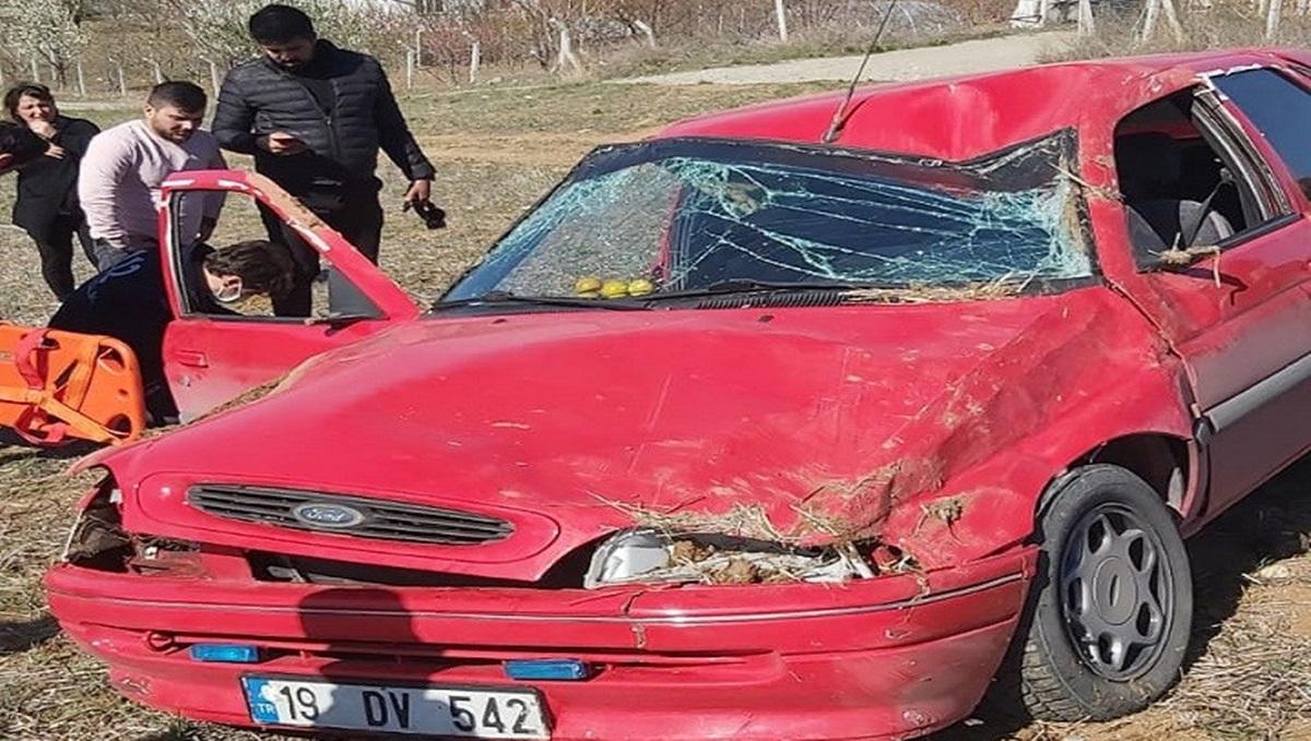 Virajı Alamayan Otomobil Takla Attı: 1 Yaralı