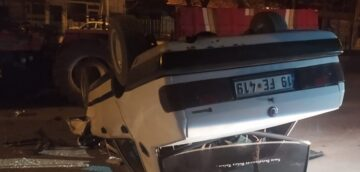 Römorka Çarpan Otomobil Takla Attı
