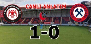Çorum FK. : 1 – Zonguldak Kömürspor A.Ş.:0